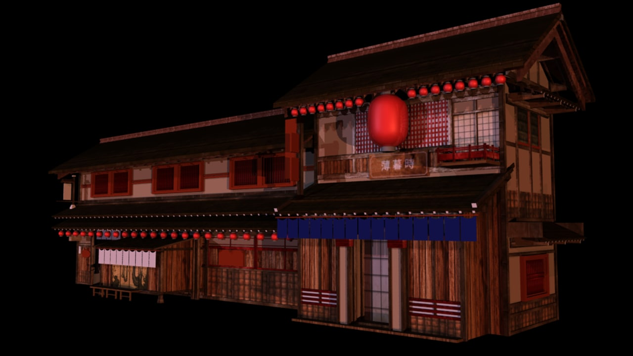 obj japanese old tradition house building