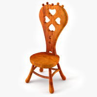 3d doll wooden chair model