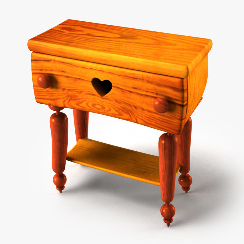 3d doll wooden night stand model