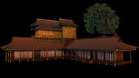 japanese old tradition house building 3ds