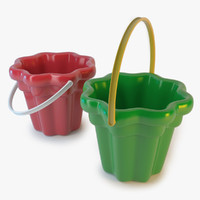 Green and Red Toy Buckets