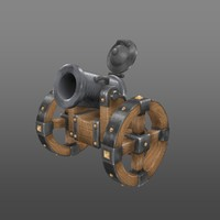 low poly cannon with hand painted texture