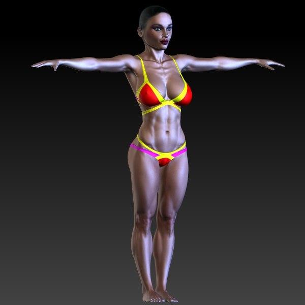3d model fitness female character