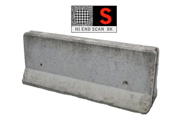 concrete barrier scan 8k 3d obj