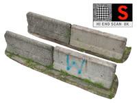 concrete barrier scan 8k 3d model