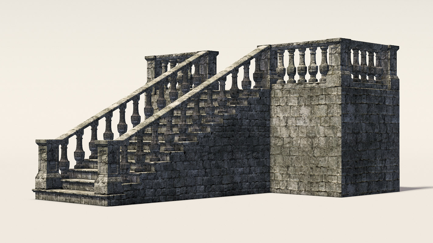 staircase grand modular 3d model