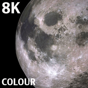 8k colour moon 3d model
