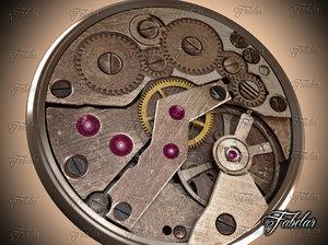 3d model pocketwatch mechanism