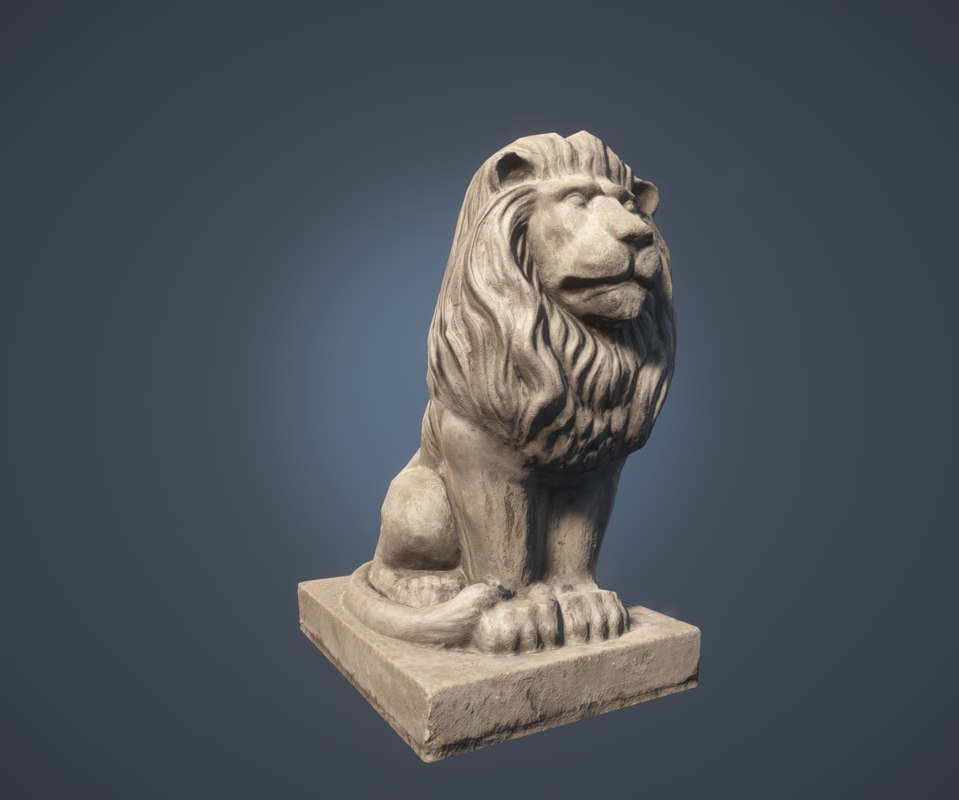 3d model of scanned lion statue