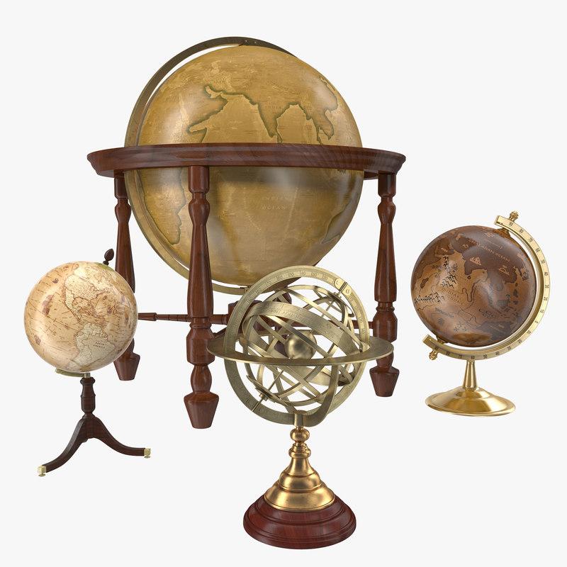 3d antique globes