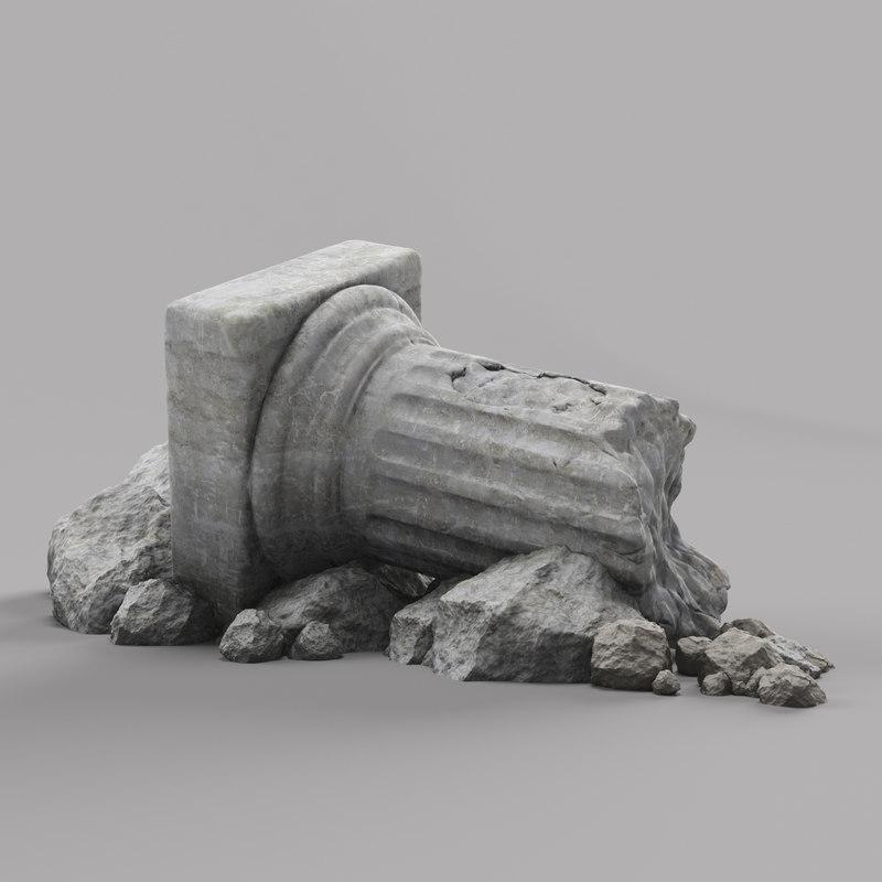 3d damaged pillar column model
