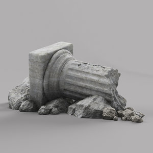 3d damaged pillar column model