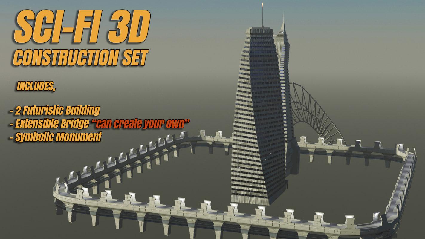 3d futuristic sci-fi model