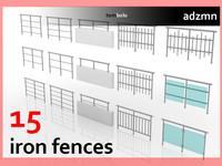 3dsmax iron fences set 15