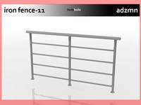 3d model of iron railing fence
