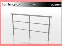 3d model rail fence iron