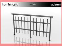 iron railing fence 3d model