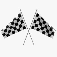 3d racing flag modeled model