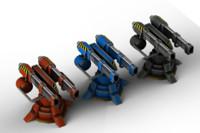 3d model turret weapon