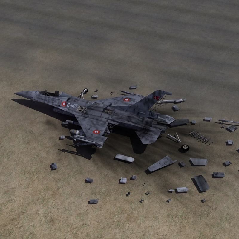 fighter jet wreckage 3d max