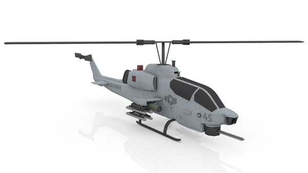 3d ah 1w helicopter bell model