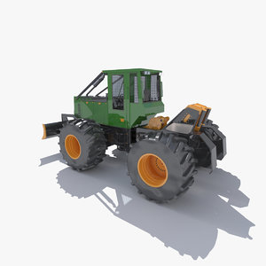 3d model skidder trees forest