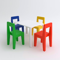 children s table chairs 3d max
