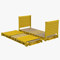 Flat Rack Collapsible Container Yellow