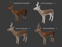 3d x roe deer