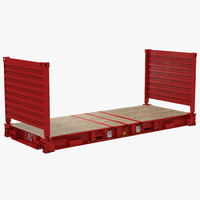 flat rack container red 3d obj