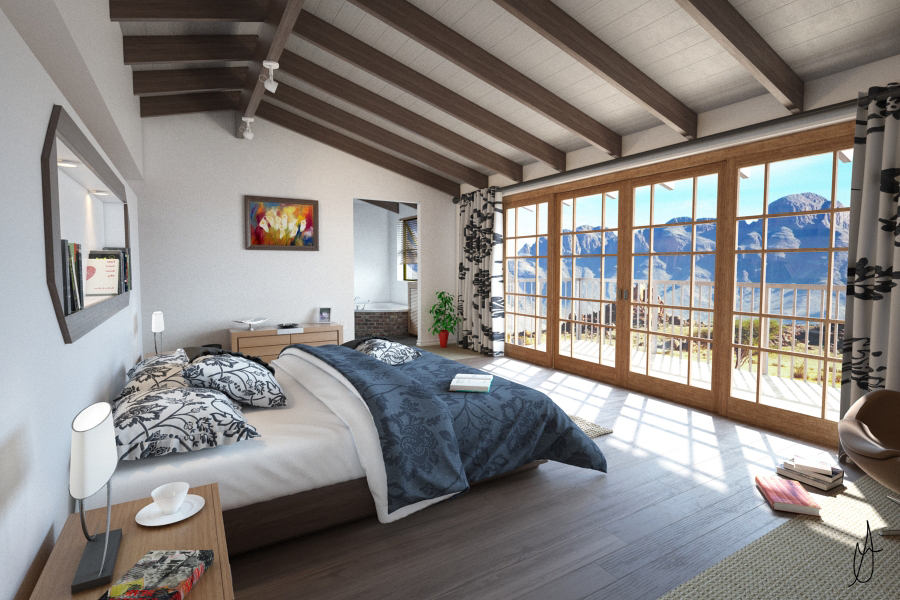 country bedroom mountains room 3d model