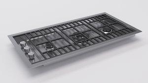 3d model barazza 1plb2ti - gas cooktop