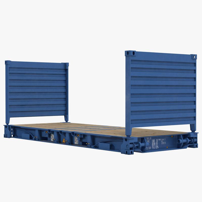 3d model flat rack container blue. Black Bedroom Furniture Sets. Home Design Ideas