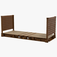 3d flat rack container brown