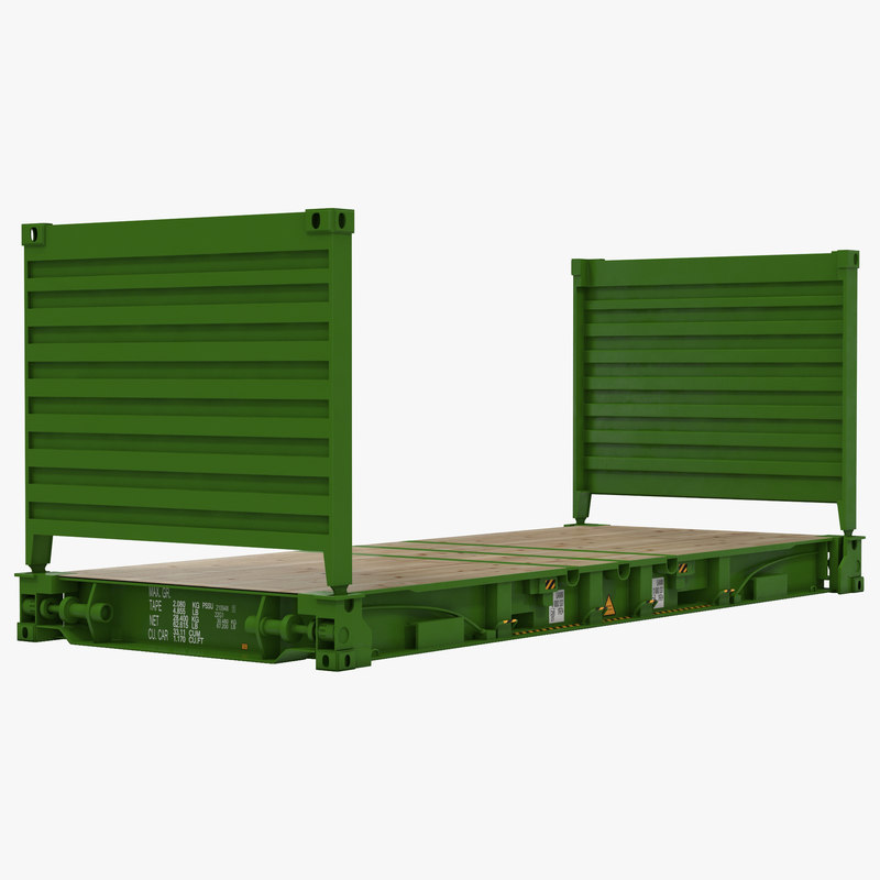 3d flat rack container green model