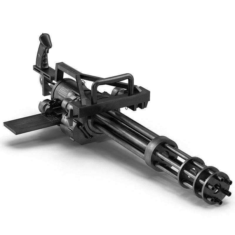 3d minigun modeled realistic model