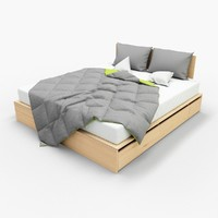 photorealistic bed blanket pillows max