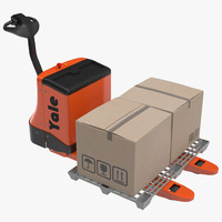 Powered Pallet Jack and Plastic Pallet 3D Models Set