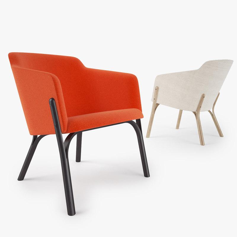 3d model ton lounge armchair split