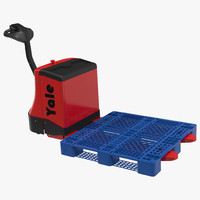 Powered Pallet Jack and Plastic Pallet 2 3D Model