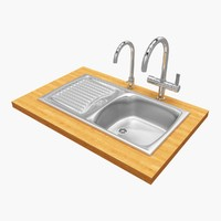 kitchen sink grohe taps 3d model