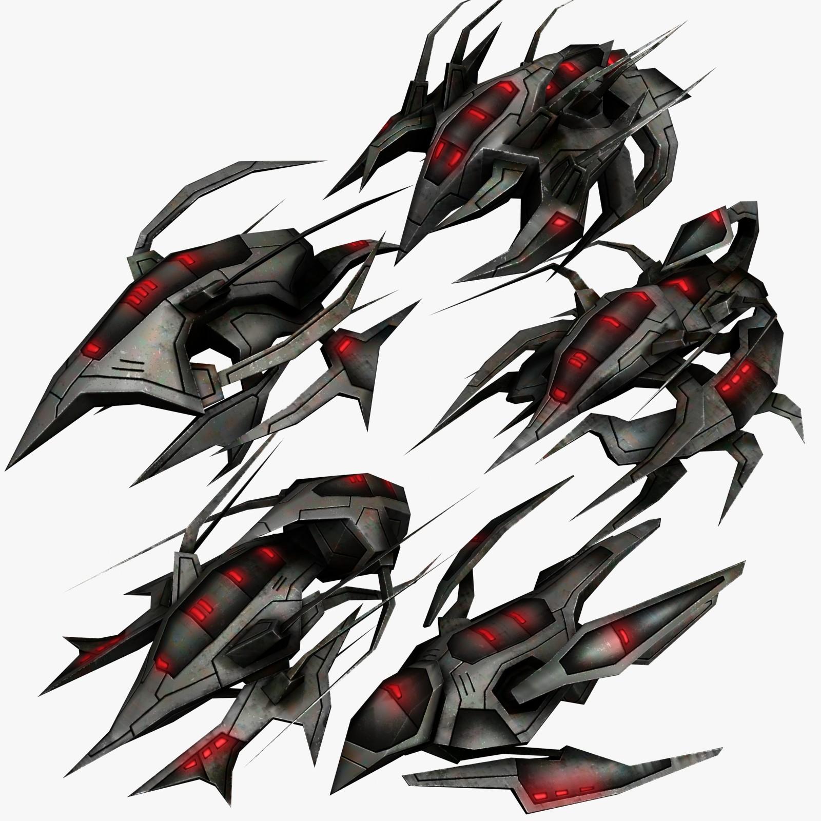 5 alien fighters 3d max