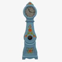 3d model of hand painted grandfather clock