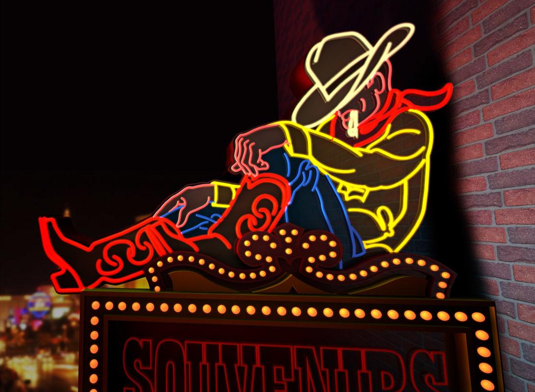 c4d neon sign cowboy