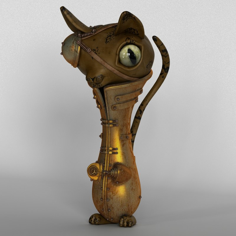 3d steampunk cat model