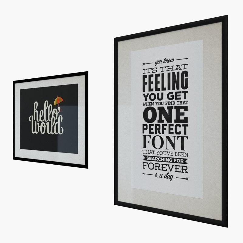 interior typography prints 3d max