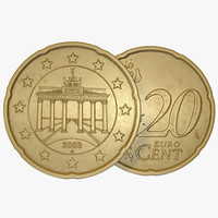 German Euro Coin 20 Cent 3D Model