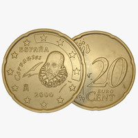Spain Euro Coin 20 Cent 3D Model