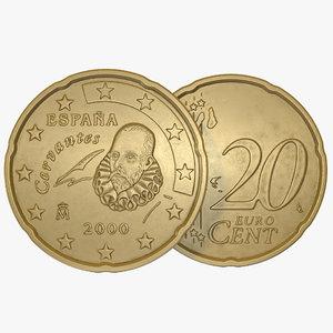 spain euro coin 20 3d model