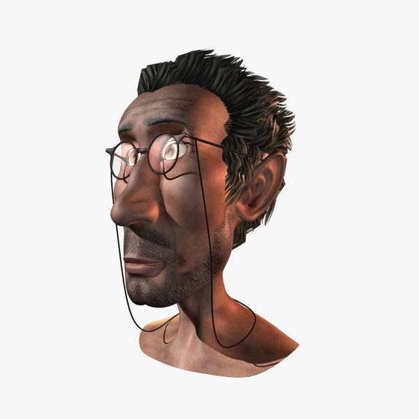 old man head 3d obj